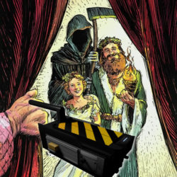 """I tre fantasmi del libro """"A Christmas Carol"""" con la trappola di Ghostbusters."""