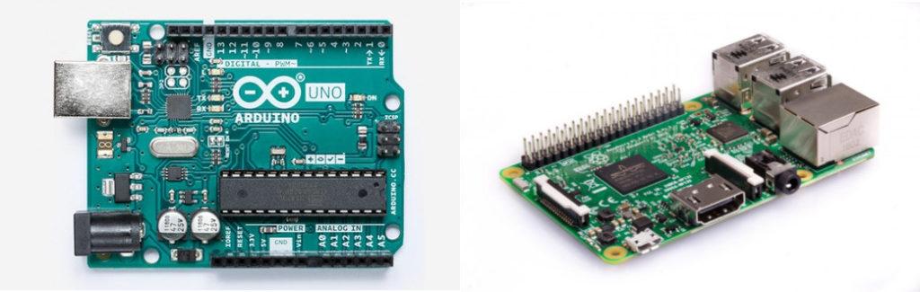 Da sinistra a destra, una Arduino UNO e un Raspberry Pi 3 model B